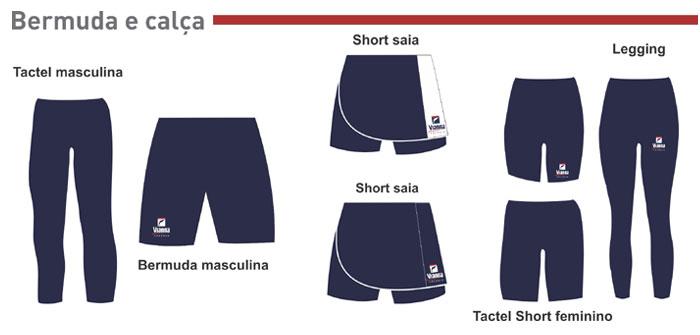 Bermudas e calças do Colégio Vianna Júnior