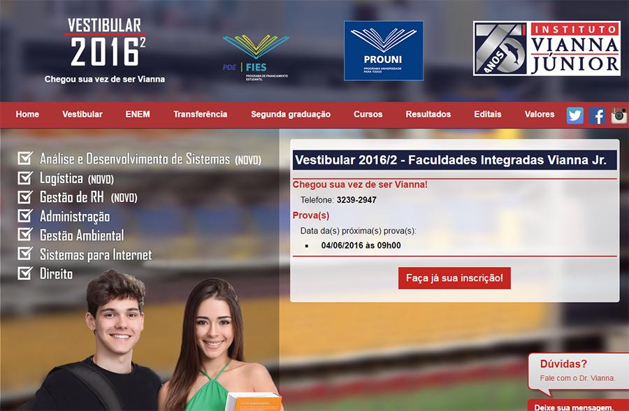 Vianna Júnior abre inscrição para o Vestibular 2016-2