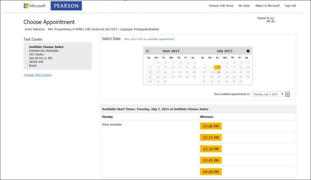 Certificação Microsoft Pearson Vue Vianna Jr passo 11