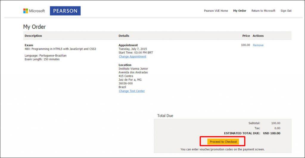 Certificação Microsoft Pearson Vue Vianna Jr passo 12