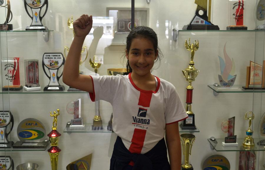 Julia Januzi, do 5º ano, garantiu sua medalha de bronze.