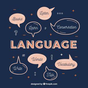A imagem mostra várias palavras em inglês que englobam o aprendizado bilíngue: ouvir, livros, conversação, palavras, vocabulário, etc.